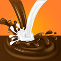 Splashing and whirl chocolate and milk liquid for design uses 3d illustration