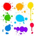 Splats and blobs of colored paint Royalty Free Stock Photo