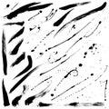 Splatter brushes and brush strokes vector set Stock Image