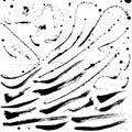 Splatter brushes and brush strokes vector set Stock Photos