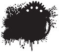 Splatter and gear vector background silhouette a illustration done in a tattoo or graffiti style makes a great industrial Royalty Free Stock Photo