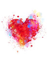 Splattered heart colorful on white background Royalty Free Stock Photos
