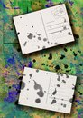 Splattered postcards collage Royalty Free Stock Image