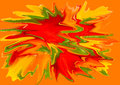 Splattered red green and yellow paint with orange background Stock Photography