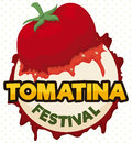 Splattered Tomato in a Round Button for Tomatina Festival, Vector Illustration