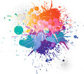 Splatters colorful background and halftone pattern Royalty Free Stock Photos