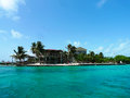 The split bar at caye caulker belize june is a small island off coast of in caribbean sea Stock Photography