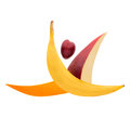 Split leap fruits arranged in a gymnast shape jumping a Royalty Free Stock Image
