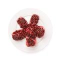 Split open pomegranate fruit Royalty Free Stock Photo