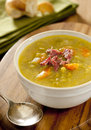 Split pea and ham soup closeup of a Stock Photography