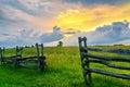 Split rail fence and sunset, Cumberland Gap Natl Park Royalty Free Stock Photo