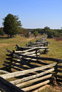 Split rail fencing at appomattox the richmond lynchburg stage road court house historic village the civil war surrender site Stock Photos