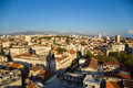 Split view from bell tower is a city in croatia situated in the mediterranean basin on the eastern shores of the adriatic sea Stock Photo