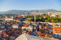 Split view from bell tower is a city in croatia situated in the mediterranean basin on the eastern shores of the adriatic sea Stock Images