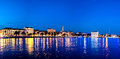 Split waterfront evening blue panorama, Split, Croatia