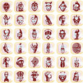 Splotches with african masks Royalty Free Stock Photos