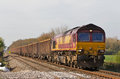 Spoil train pirton uk april an ews operated freight takes a load towards the south of wales on april in pirton ews now owned by db Stock Images