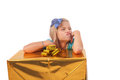 Spoiled girl s gift child with box she is very unhappy in spite of she just got a big present Stock Photo