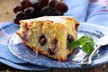 Sponge cake with red grapes Royalty Free Stock Photography