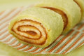 Sponge cake roll with jam Royalty Free Stock Photography
