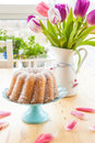 Sponge cake and tulips Royalty Free Stock Photo