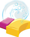 Sponges with soapy bubbles Stock Images