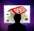 Sponsor On House Or Money Box Man Means Sponsoring Home Royalty Free Stock Photo