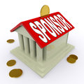 Sponsor On House Or Money Box Means Sponsoring Royalty Free Stock Photo