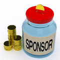 Sponsor Jar Means Donating Helping And Aid Royalty Free Stock Photo