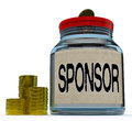 Sponsor Jar Shows Sponsorship Benefactor And Giving Royalty Free Stock Photo