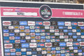 Sponsor wall of giroditalia pics from giro d italia in naples Stock Photography