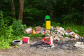 A spontaneous landfill garbage in near forest environment pollution Stock Images