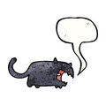 Spooky black cat cartoon Stock Images