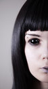 Spooky black eyed woman with pale skin Stock Photo