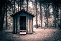 Spooky cabin in a dark and mysterious forest Stock Image