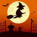 Spooky cemetery with witch halloween night scene background the full moon bats and a flying over a scary eps file available Stock Images