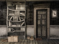 Spooky children s room with old books and dusty walls Stock Images