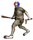 Spooky clown with axe and club