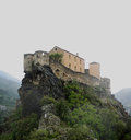 Spooky fortress the citadel of corte in corsica on a dark misty winter day Royalty Free Stock Photos