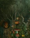 Spooky goblin halloween forest little goblins decorating their of twisted dead trees with pumpkin lanterns for d digitally Royalty Free Stock Images
