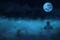Spooky graveyard halloween background with zombies and the moon Stock Photos