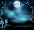 Spooky halloween background scene a scary with full moon graves and scary trees Royalty Free Stock Photography