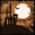 Spooky halloween castle background with haunted bats ghosts full moon and grunge elements Stock Images