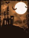 Spooky Halloween castle, vector background Royalty Free Stock Photography