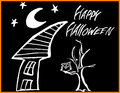 Spooky Halloween House and Tree Owl Royalty Free Stock Photo