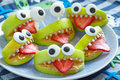 Spooky halloween party monsters green apple for Royalty Free Stock Image