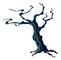 Spooky halloween tree an illustration of a bare scary Royalty Free Stock Images