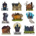 Spooky house vector haunted castle with dark scary horror nightmare on halloween moonlight mystery illustration nightly