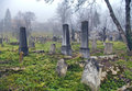 Spooky old graveyard abandoned in october Stock Image