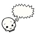Spooky skull symbol with speech bubble Stock Photo